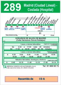 Ruta de ida línea 289