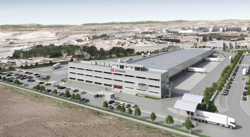 Imagen virtual de la plataforma logística del parque industrial. Copyright: DB Schenker.