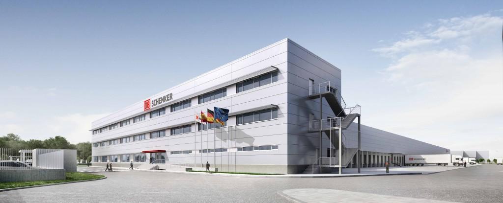 Vista del edificio de oficinas de la plataforma logística del parque industrial. Copyright: DB Schenker.